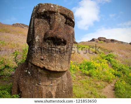 Smiling Moai inside the crater of Rano Raraku volcano, Easter Island, Chile, Polynesia. - stock photo