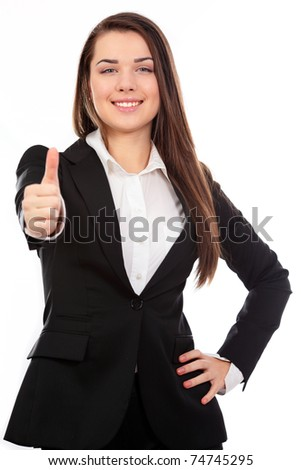smiling modern business woman showing thumbs up gesture isolated on white - stock photo