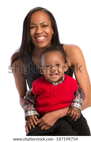 Smiling Mom Holding Baby Closeup Portrait Isolated on White Background