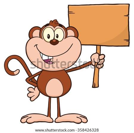 Smiling Monkey Cartoon Character Holding Up A Blank Wood Sign. Raster Illustration Isolated On White - stock photo