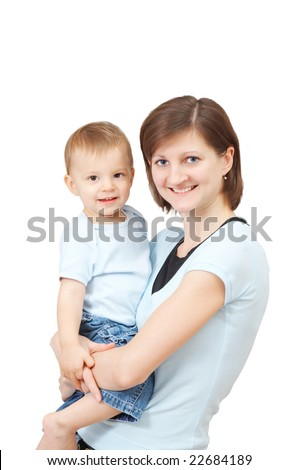 smiling mother with her son - stock photo