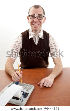 Smiling nerdy accountant - stock photo