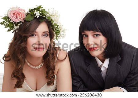 Smiling newlyweds. Concept of gay marriage - stock photo