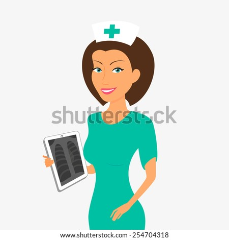 Smiling nurse with tablet pc. - stock photo