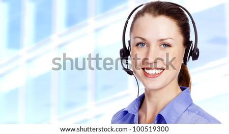 Smiling operator - stock photo