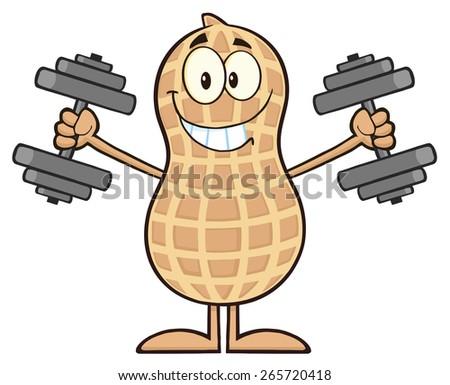 Smiling Peanut Cartoon Character Training With Dumbbells. Raster Illustration Isolated On White - stock photo