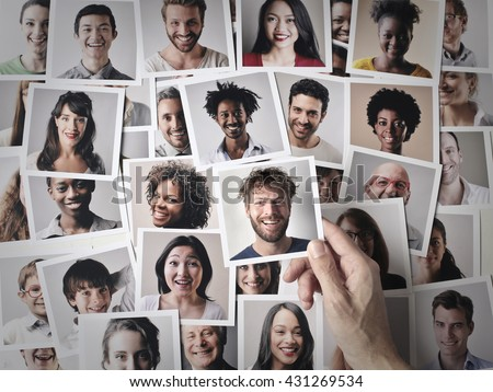 Smiling people's pictures - stock photo