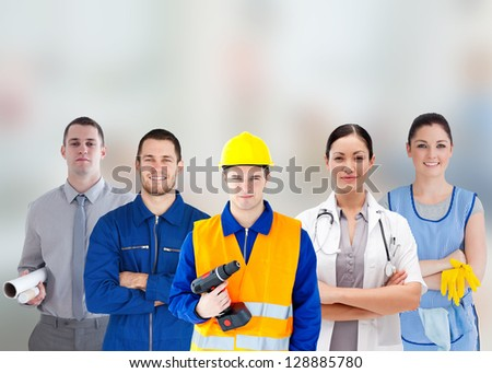 Smiling people with different jobs standing arms folded in line - stock photo