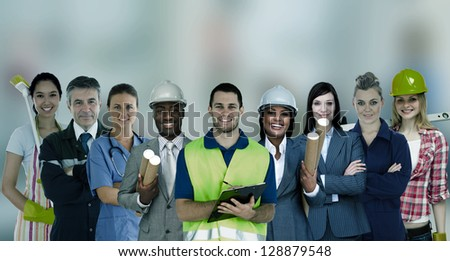 Smiling people with different jobs standing in line