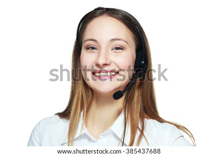 smiling phone operator Customer service representative - stock photo
