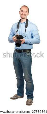 smiling photographer isolated on white background - stock photo