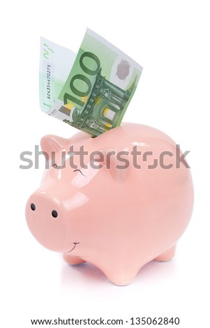 Smiling  Piggy bank with euro bills isolated on white background - stock photo