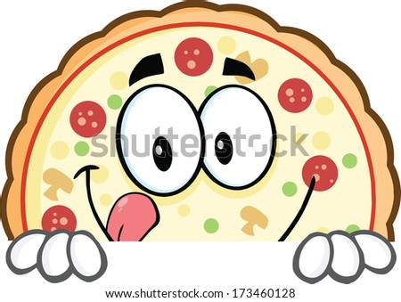 Smiling Pizza Cartoon Mascot Character Over A Sign. Raster Illustration Isolated on white - stock photo