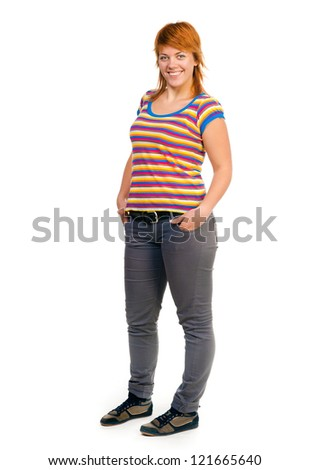 smiling plump girl looking at the camera on a white background - stock photo