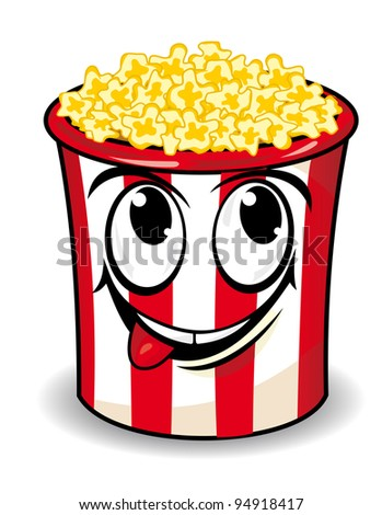 Smiling popcorn box in cartoon style for snack design. Vector version also available in gallery - stock photo