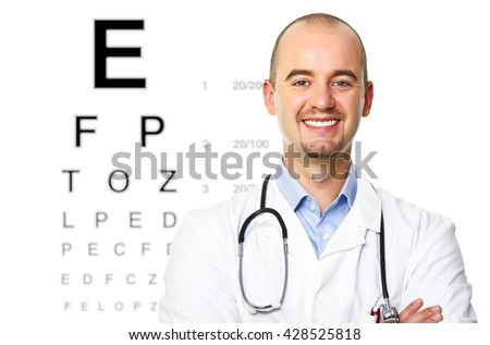 smiling portrait of smiling optometrist on white