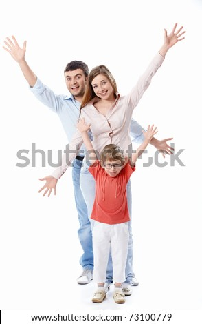 Smiling positive family on a white background