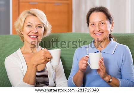 Smiling positive female pensioners drinking tea on sofa at home. Focus on blonde - stock photo