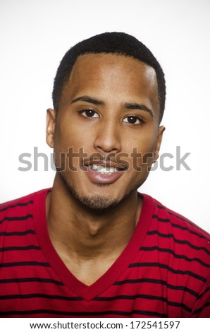 Smiling positive handsome young African American man