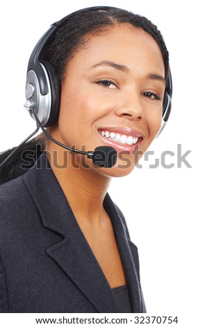 Smiling pretty business woman with headset. Over white background - stock photo