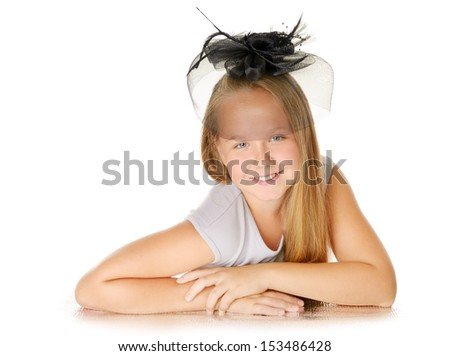 Smiling pretty  girl with hat, isolated on while