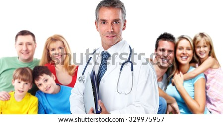 Smiling professional Family doctor. Health care banner background.