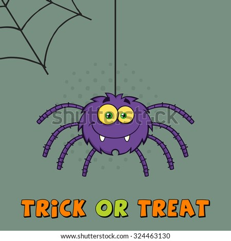Smiling Purple Halloween Spider Cartoon Character On A Web With Text. Raster Illustration Greeting Card - stock photo