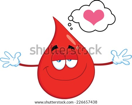 Smiling Red Blood Drop Cartoon Mascot Character With Open Arms For Hugging. Raster Illustration Isolated On White Background - stock photo