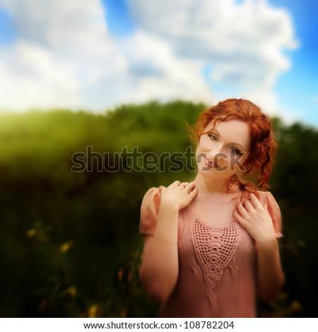 Smiling redhead pretty woman - stock photo