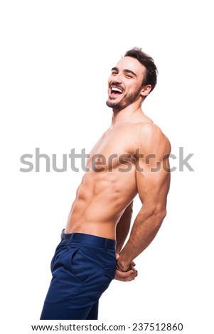 smiling relaxed man with healthy atletic and muscle body on white background - stock photo