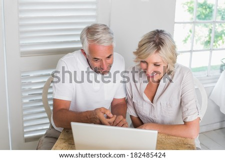 Smiling relaxed mature couple using laptop at home