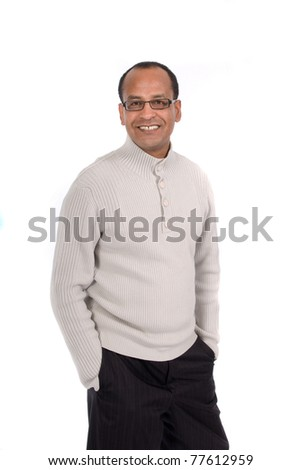 Smiling Sales Representative in casual sweater and tie