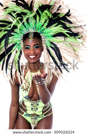 Smiling samba dancer isolated on white background