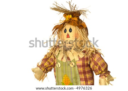 Smiling scarecrow on white background - autumn decoration, fall seasonal - stock photo