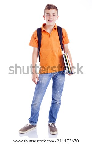 Smiling school boy with backpack holding notebooks, isolated on white background - stock photo