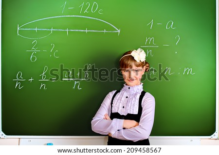 Smiling schoolgirl performs the task at the blackboard. Education.