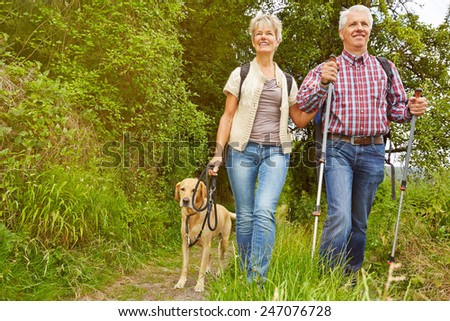 Smiling senior couple with dog on a hike in a forest - stock photo
