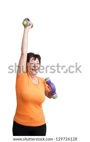 Smiling senior fitness woman exercising with barbells - isolated on white - stock photo