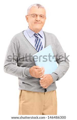 Smiling senior man holding a book, isolated on white background - stock photo