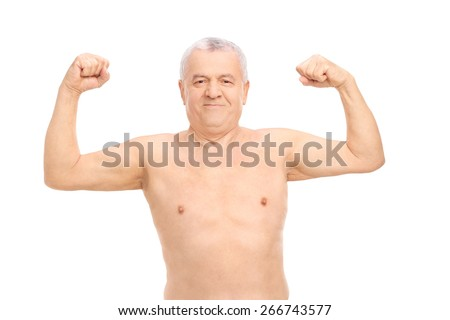 Smiling senior man in underwear showing his biceps isolated on white background