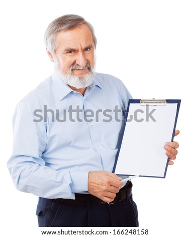 Smiling senior man pointing on folder