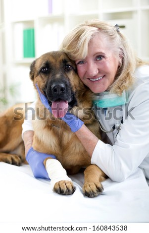 smiling senior veterinarian hugging dog