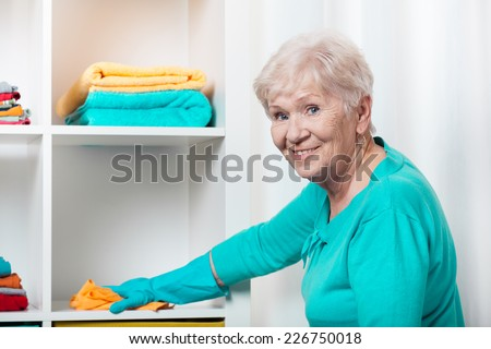 Smiling senior woman cleaning house before Christmas - stock photo