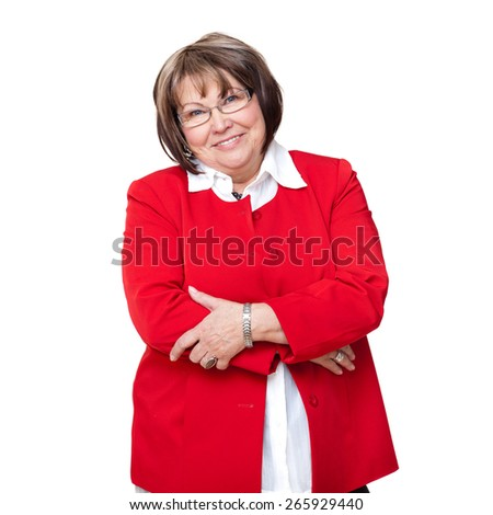 smiling senior woman on isolated background - stock photo