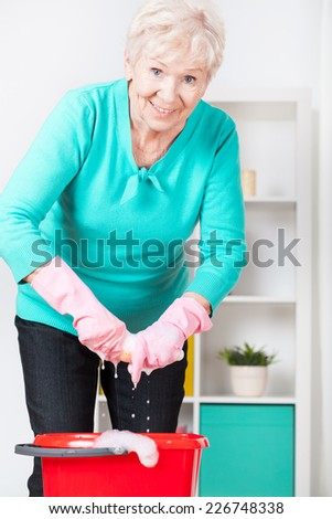Smiling senior woman preparing home for Christmas - stock photo