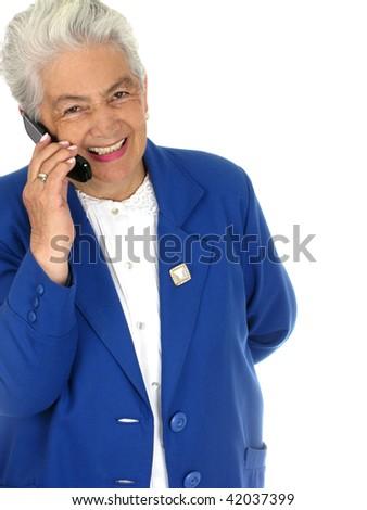 Smiling senior woman talking on cell phone - stock photo