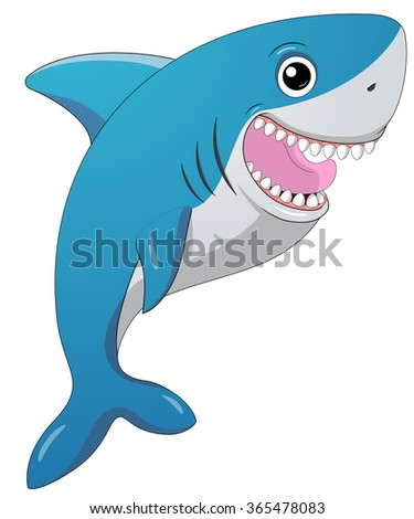 Smiling shark.Cartoon character.Isolated on white.