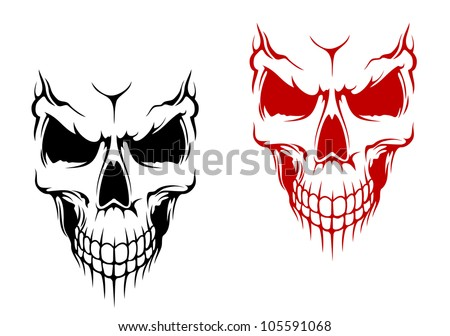 Smiling skull in black and red versions for t-shirt or halloween design. Vector version also available in gallery - stock photo