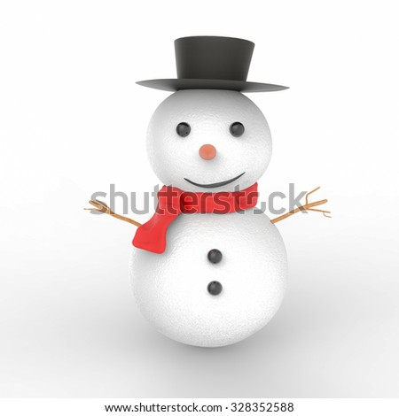smiling snowman 3d rendered