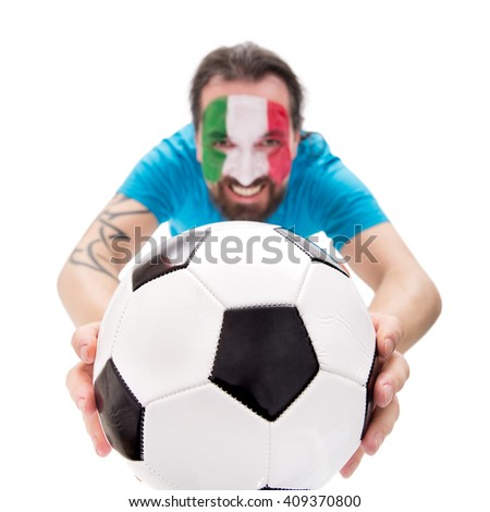 Smiling soccer fan from the national team of italy, Football in the front, isolated on white - stock photo